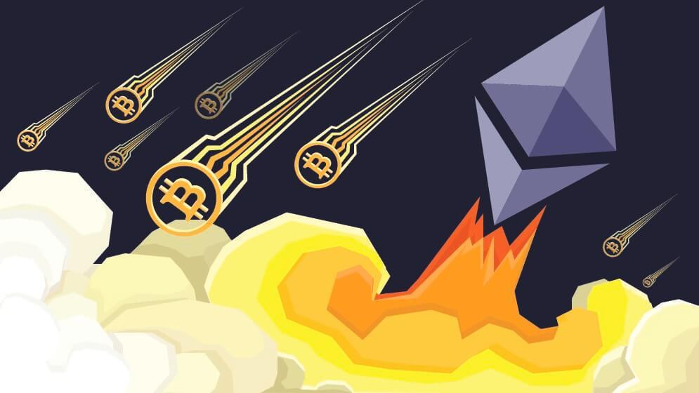 Ethereum fliegt an Bitcoin vorbei