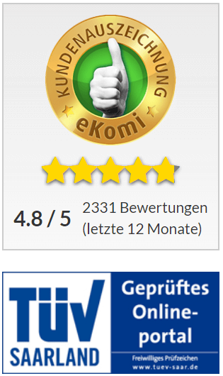 ekomi Bewertung 4,8 von 5 Sterne und TÜV Saarland Zertifikat