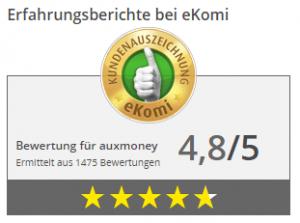 eKomi Bewertung für auxmoney