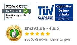 eKomi Bewertung, TÜV Saarland Siegel und Finanztip Empfehlung von smava